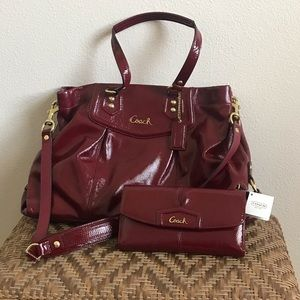Coach Patent Leather Crimson Red Purse + Wallet